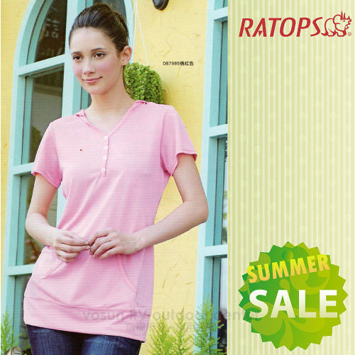 【RATOPS-消暑對策】女款 Coolmax 連帽長版貼袋排汗休閒衫 / DB7985 桃紅