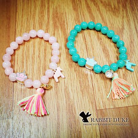 【Rabbit Duke】經典歐美風格 個性可愛粉嫩天然石小馬皇冠流蘇設計串珠手鍊 -friDay購物