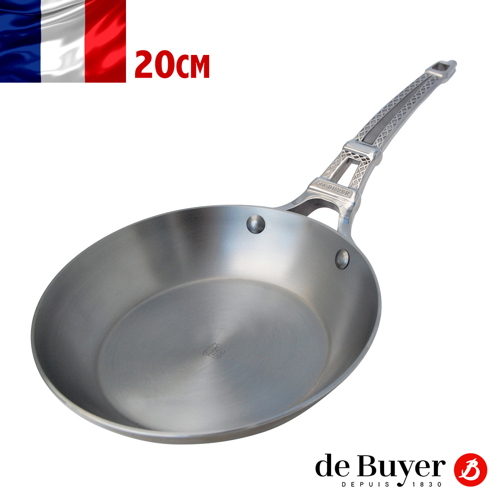 法國【de Buyer】畢耶鍋具『巴黎原礦蜂蠟系列』鐵塔柄平底鍋20cm