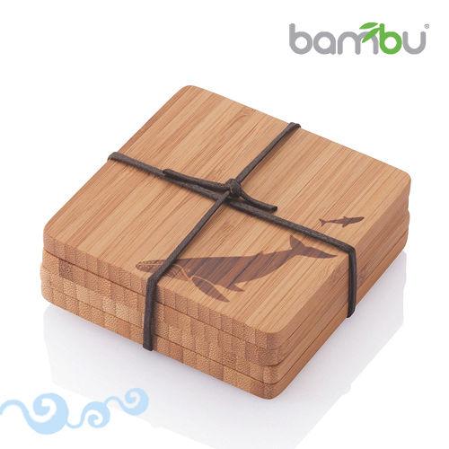 【Bambu】童趣圖紋竹杯墊-小鯨魚(4塊組)
