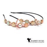 【Rabbit Duke】經典歐美風格 個性粉嫩寶石緞帶蝴蝶結髮箍