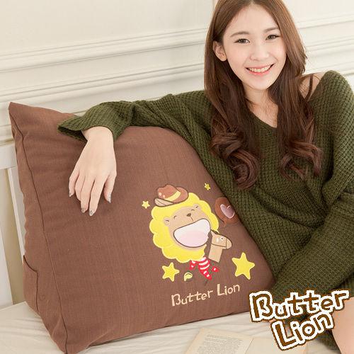 【奶油獅】正版授權-100%台灣製造 加厚精緻貼布鏽 星星牛仔布套可拆三角靠墊/美腿枕(一入)