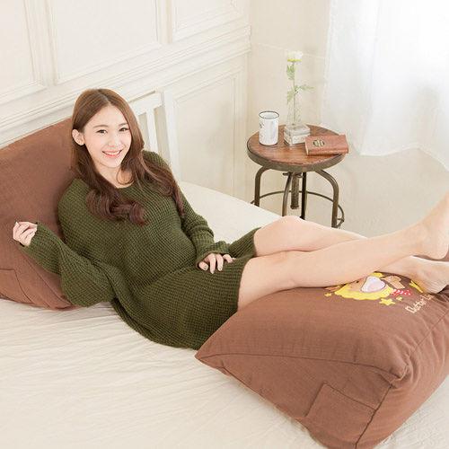 【奶油獅】正版授權-100%台灣製造 加厚精緻貼布鏽 星星牛仔布套可拆三角靠墊/美腿枕(二入)