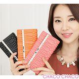 【CHACO韓國】OMNIA質感羊皮立體幾何圖騰14K水鑽長夾包3157A(2色)