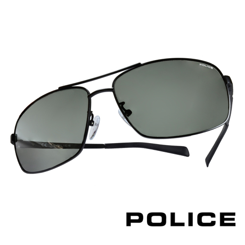 POLICE 義大利警察都會款個性型男眼鏡-金屬框(黑色) POS8879G0531