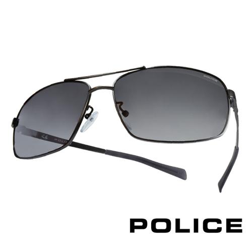 POLICE 義大利警察都會款個性型男眼鏡-金屬框(灰色) POS8879G0627