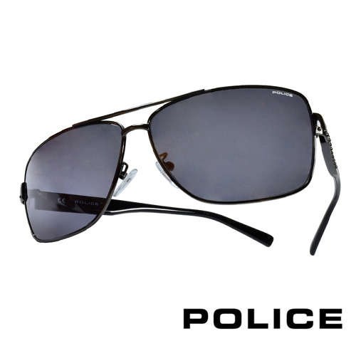 POLICE 義大利警察都會款個性型男眼鏡-金屬框(黑灰) POS8880G0568