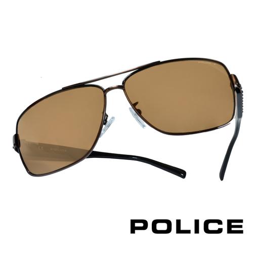 POLICE 義大利警察都會款個性型男眼鏡-金屬框(棕黑) POS8880GK05P