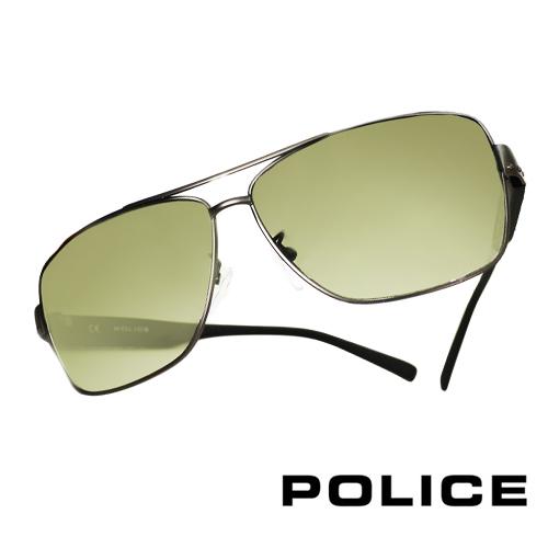 POLICE 義大利警察都會款個性型男眼鏡-金屬框(霧灰) POS8880G0627