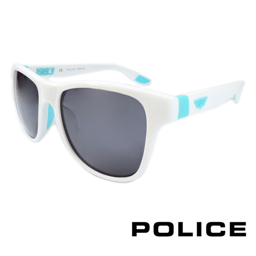 POLICE 義大利警察都會款個性型男眼鏡-膠框(水藍色) POS1823G4A0V