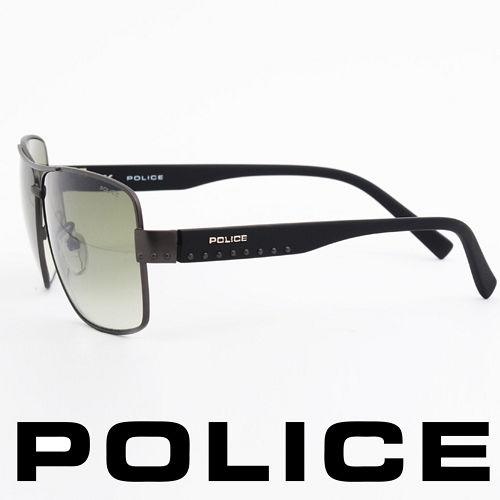 POLICE 義大利警察都會款個性型男眼鏡-金屬框(霧灰) POS8880-0627