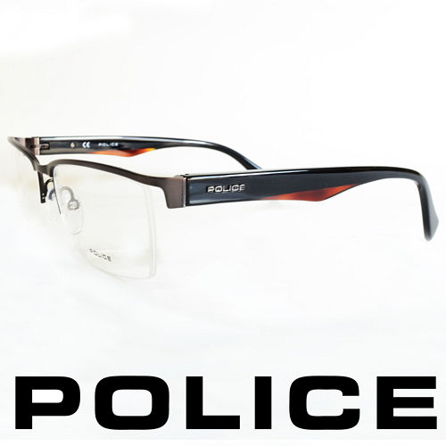 POLICE 義大利警察都會款 型男眼鏡-半框 黑橘  POV8718-0627