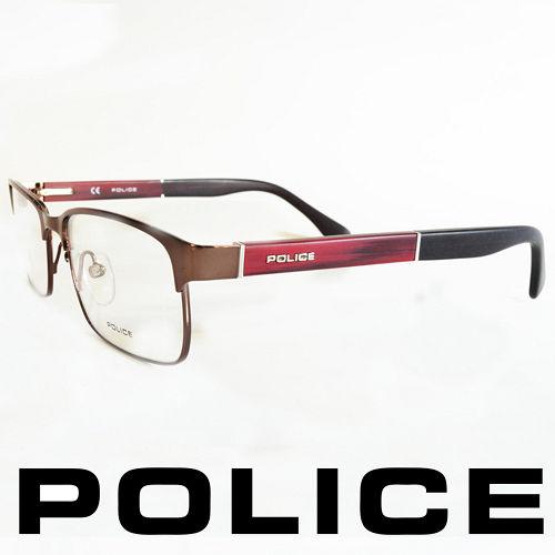 POLICE 義大利警察都會款個性型男眼鏡-金屬框(銀面紅腳) POV8797-K01X