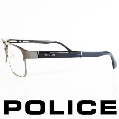 POLICE 義大利警察都會款個性型男眼鏡-金屬框(銀框黑腳) POV8797-627X