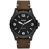 FOSSIL 經典時計時尚腕錶-黑x咖啡/皮帶