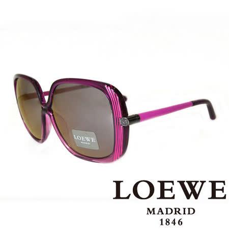 LOEWE 西班牙皇室品牌羅威蝴蝶面皮革腳LOGO太陽眼鏡(粉) SLW802-09TX
