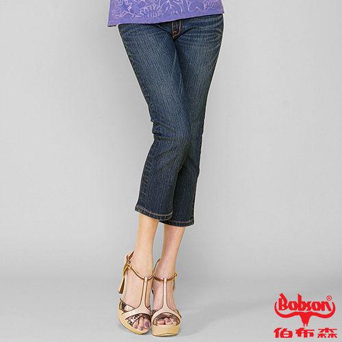 BOBSON 女款鑽飾牛仔七分褲 藍209-52
