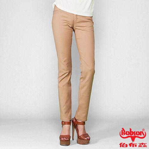 BOBSON 女款超手感彈力小直筒褲(卡其8113-72)