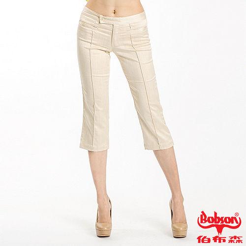 BOBSON 女款伸縮7分色褲 卡其108~71