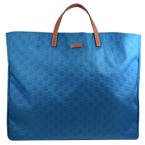 GUCCI 經典雙G緹花布皮飾邊大購物包.藍