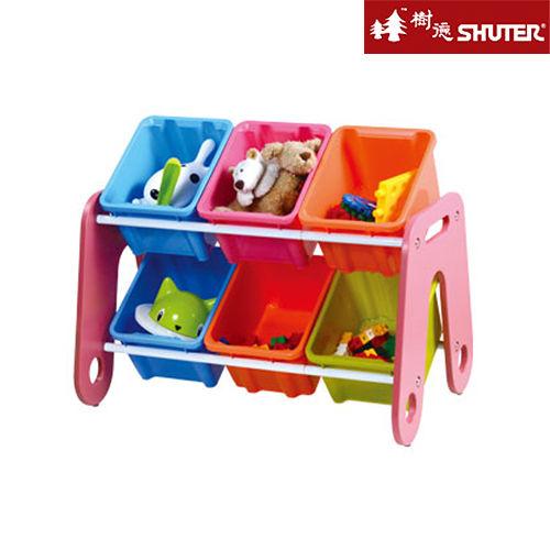 【SHUTER樹德】繽紛六格玩具收納架