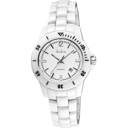 Diadem 黛亞登 菱格紋雅緻白陶瓷腕錶-銀 8D1407-551S-W