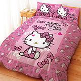 【享夢城堡】HELLO KITTY 蝴蝶結甜心系列-單人三件式床包兩用被組(粉)