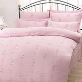 【享夢城堡】HELLO KITTY 優雅茶宴系列-單人純棉三件式床包薄被套組