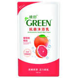 【超值2入組】綠的抗菌沐浴乳補充包-葡萄柚700ml