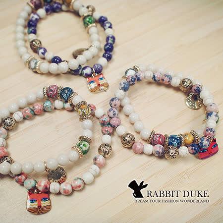 【Rabbit Duke】經典歐美風格 個性可愛俏皮小貓多彩天然石串珠手鍊 -friDay購物