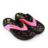 【Pretty】若梵妮 德國PU環保素材夾腳健走鞋-桃紅、黑色