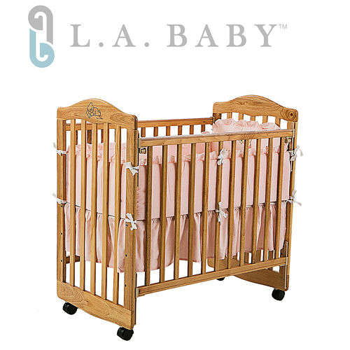 L.A. Baby 美國加州貝比 蒙特維爾美夢熊嬰兒小床/木床/原木床-超值優惠組合(嬰兒床+純棉五件式寢具組)