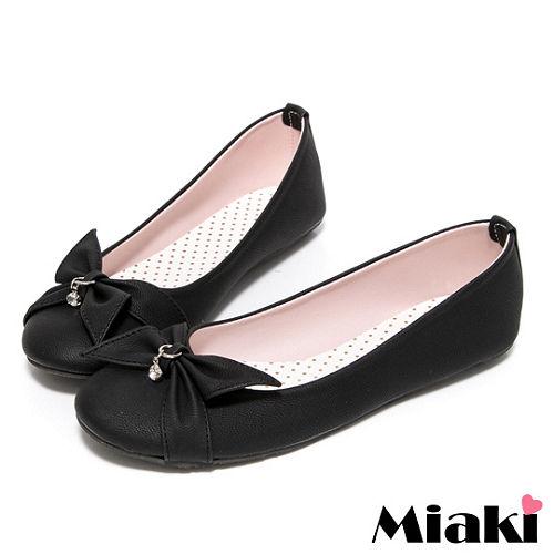 (現貨+預購) 【Miaki】MIT 都會淑女蝴蝶結平底包鞋娃娃鞋 (黑色)