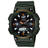 CASIO 數位雙顯式太陽能腕錶(軍綠/52*46mm)AQ-S810W-3AVDF/AQ-S810W-3A