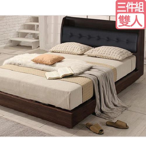 OZ 歐舒家居 Hannes 5 尺雙人三件房間組,2色可選 白色/胡桃色 (床頭箱+床底+獨立筒床墊)