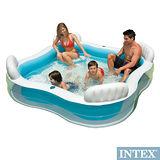 【INTEX】方型有靠墊透明戲水游泳池/充氣泳池 229*229cm(882L) (56475)