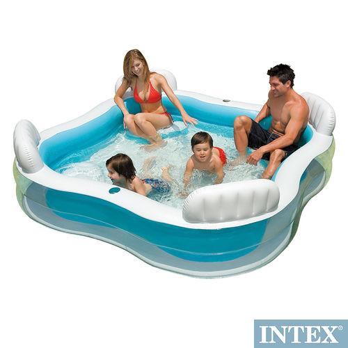 【INTEX】方型有靠墊透明戲水游泳池 充氣泳池 229*229cm 882L   564
