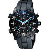 MIDO Multifort 先鋒系列60小時動力潛水計時機械腕錶-黑 M0059143705000