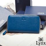 Lynx - 山貓仕女系列時尚真皮拉鍊式多卡長皮夾-英倫藍