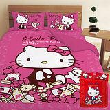 【享夢城堡】HELLO KITTY 我的遊戲房系列-雙人四件式床包薄被套組(粉)(紅)