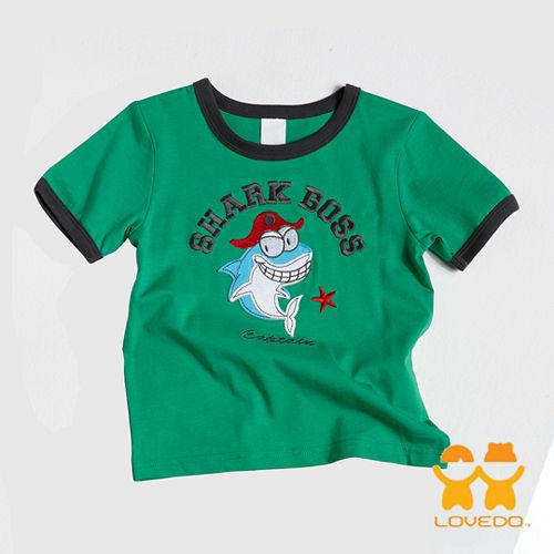【LOVEDO艾唯多童裝】威猛的鯊魚 拼布式短袖T恤 (綠)