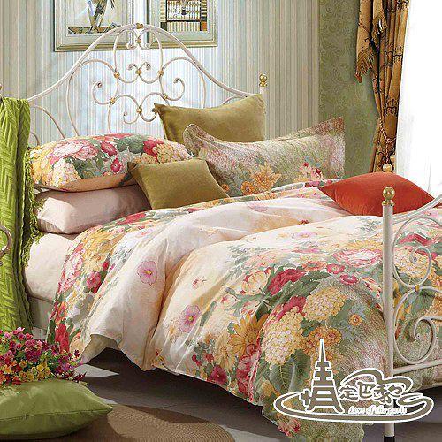 【情定巴黎-美式田園】加大精梳棉四件式兩用被床包組