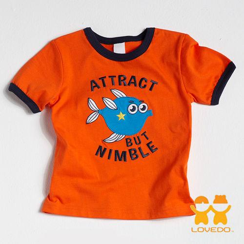 【LOVEDO艾唯多童裝】敏捷的尖嘴籃子魚 拼布式短袖T恤 (橘)