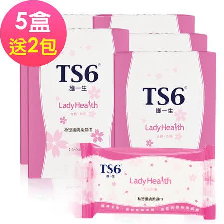 【TS6®護一生 】私密護膚柔濕巾X5盒(再送2包,共計27包)