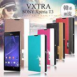 VXTRA SONY Xperia T3 / D5103 韓系潮流 磁力側翻皮套