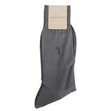 TRUSSARDI 薄型純棉紳士襪-灰藍色