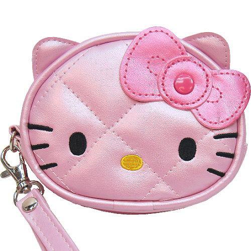 【波克貓哈日網】Hello kitty 凱蒂貓◇隨身包/收納包◇《粉紅菱格紋》