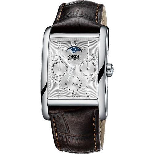ORIS Rectangular 經典月相機械腕錶-銀x咖啡 0158276944061-0752420FC