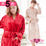 【天使霓裳】暖冬愛戀 柔軟法蘭絨綁帶睡袍(共4色)