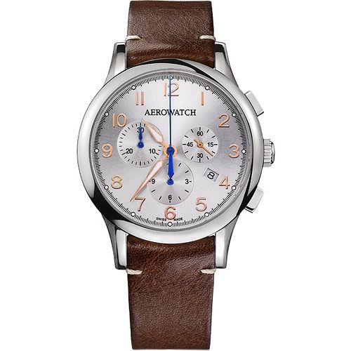AEROWATCH Grace優雅風範三眼計時腕錶-銀x咖啡 A83966AA03